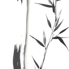 Bambushalm und -zweig Sumi-e, japanische Tuschmalerei auf Reispapier