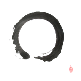 Enso Sumi-e, japanische Tuschmalerei auf Reispapier
