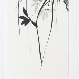 hängende Orchidee Sumi-e, japanische Tuschmalerei auf Reispapier