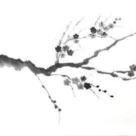 Pflaumenblütenzweig Sumi-e, japanische Tuschmalerei auf Reispapier