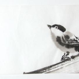 sitzender Vogel Sumi-e, japanische Tuschmalerei auf Reispapier