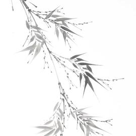 Bambuszweige Sumi-e, japanische Tuschmalerei auf Reispapier