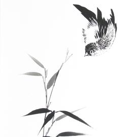 Vogel umfliegt einen Bambuszweig Sumi-e, japanische Tuschmalerei auf Reispapier