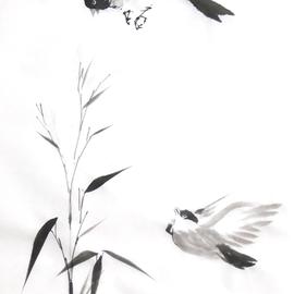zwei Vögel umfliegen einen Bambuszweig Sumi-e, japanische Tuschmalerei auf Reispapier