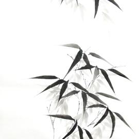 zwei Bambuszweige Sumi-e, japanische Tuschmalerei auf Reispapier