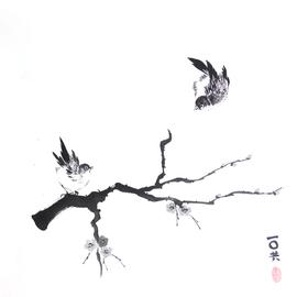 zwei Vögel am Kirschblütenast Sumi-e, japanische Tuschmalerei auf Reispapier