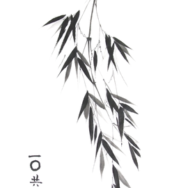 Bambuszweig Sumi-e, japanische Tuschmalerei auf Reispapier