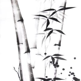 mehrere Bambushalme und -zweige Sumi-e, japanische Tuschmalerei auf Reispapier