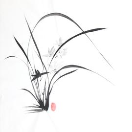 Orchidee Sumi-e, japanische Tuschmalerei auf Reispapier