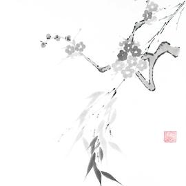 Pflaumenblütenzweig trifft Bambuszweige Sumi-e, japanische Tuschmalerei auf Reispapier