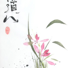Purpur-Orchidee Sumi-e, japanische Tuschmalerei auf Reispapier