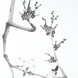 Pflaumenblütenzweig mit Vogelfamilie