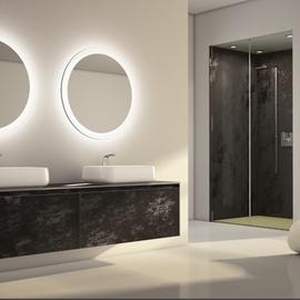 cuisine intérieur design, salle de bain noir effet marbre miroir avec lumière double vasque plan de travail noir