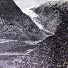 Retreat of the Franz-Josef Glazier 1965 (Courtesy NZGS: WA Sara Franz Josef and Fox Glaciers 1968)