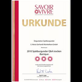 Auszeichnung SAVOIR VIVRE, Urkunde 2010er Spätburgunder trocken - im Barrique gereift -