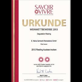 Auszeichnung SAVOIR VIVRE, Urkunde 2012er Riesling Auslese trocken
