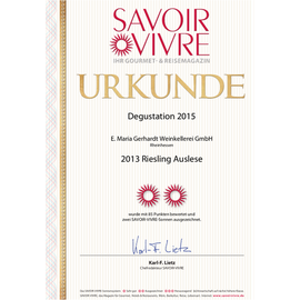 Auszeichnung SAVOIR VIVRE, Urkunde 2013er Riesling Auslese