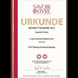 Auszeichnung SAVOIR VIVRE, Urkunde 2012er Riesling auf Quarzit trocken