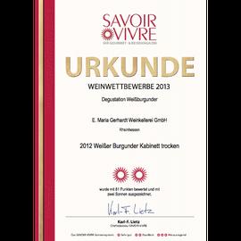 Auszeichnung SAVOIR VIVRE, Urkunde 2012er Weißer Burgunder Kabinett trocken