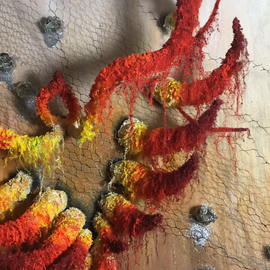 THE PHOENIX-2016, 120 cm-120 cm Materic painting/ in relief with iron wire, fabric, beads and wool, realized in acrylics