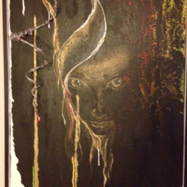 WATCHING YOU-2013, 100 cm-70 cm Materic painting/ in relief with barbed wire, realized in acrylics
