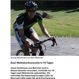 Jonas Deichmann mit neuem Weltrekordversuch