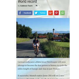 Jonas Deichmann attempts cycling world record