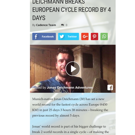 Jonas Deichmann set European cycling World Record
