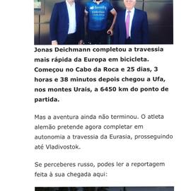 Jonas Deichmann quebra recorde mundial de bicicleta