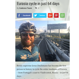 New Cycling World Record. Jonas Deichmann arrives in Vladivostok