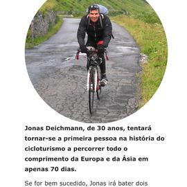 Jonas Deichmann tenta bater recorde mundial de bicicleta