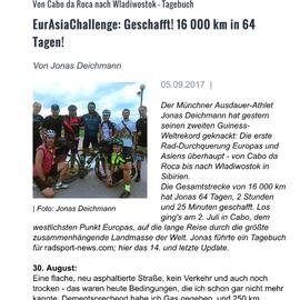 Jonas Deichmann bricht Eurasien Weltrekord