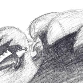 'Sturmfisch', 2017, Zeichnungsauschnitt, Bleistift
