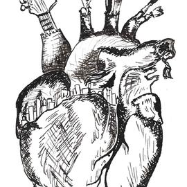 Titelloses Herz, 2017, Zeichnung mit Feder und Tusche