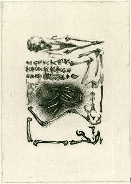 「解剖日和−4」 250×180mm 銅版/和紙に雁皮刷り