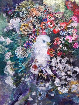 「春縫い鳥」SM アクリル・金箔
