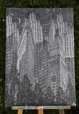 """""""NYC Snow""""  1,00 m x 0,70 m Collage, Painting auf einer Holzplatte, Santino 2017"""