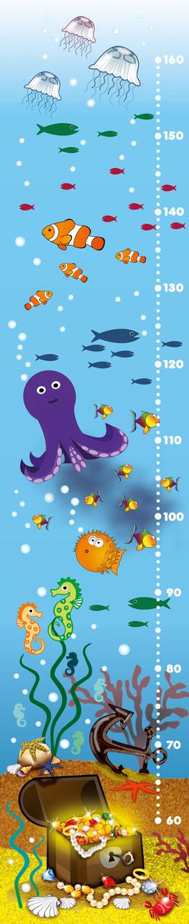 niedliche Kindermesslatte mit vielen Meerestieren, Fische, Oktopus und einem versunkenen Goldschatz -  auf Posterpapier gedruckt oder als Wandaufkleber