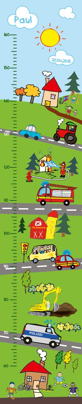 mit Namen und Geburtsdatum personalisierbare Kindermesslatte mit vielen Fahrzeugen wie Feuerwehr, Polizeiauto, Bus, Bagger, Traktor -  auf Posterpapier gedruckt oder als Wandaufkleber