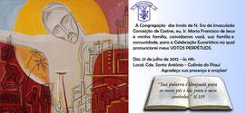 Maria Francisca de Jesus : Votos perpétuos no Piauí dia 21 de julho de 2012