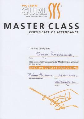 Ansicht des Curlsys®-Zertifikats von Sonja Ruschmeyer