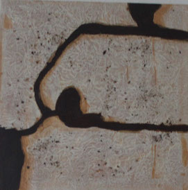 Nr. 2010-HO-024: 30 x 30 cm, Modeliermasse, Rosteffekt, Acryl auf Leinwand