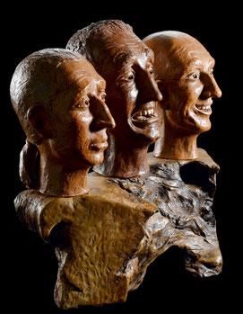 Sculpture Argile patinée et bois ciré