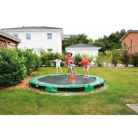Trampoline géant bas pour enfants de dimension 366 cm. Matériel de jeu sportif de trampoline à acheter pas cher. Trampoline pour jouer à sauter depuis le sol.