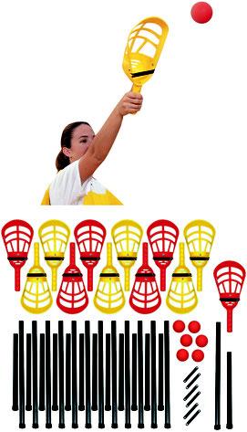 Jeu de Soft Crosse Québécoise Lacrosse avec 12 têtes et 24 bâtons + 6 balles. Matériel sportif de Soft crosse Québécoise à acheter pas cher.