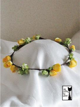 黄色&グリーンバラの花冠
