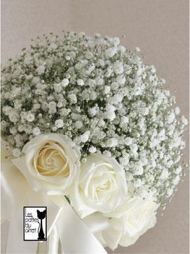 かすみそう&白バラのブーケ