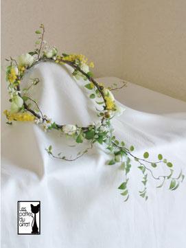 ミモザ&グリーンの花冠