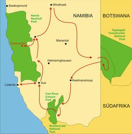 Karte Namibia Privatreise 15 Tage