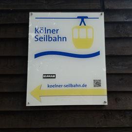 Schild der Kölner Seilbahn
